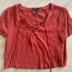 Burnt Orange Tie front T-shirt